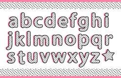 Le piccole lettere dell'alfabeto nero dei pois hanno messo con ombra piana rosa Retro tipografia d'annata di vettore Immagine Stock Libera da Diritti