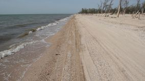Le piccole onde lavano la spiaggia sabbiosa video d archivio