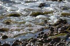Le piccole onde rotola a terra la spiaggia rocciosa nella sera immagine stock
