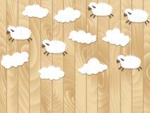 Le piccole pecore volano su fondo di legno Illustrazione di vettore Immagini Stock Libere da Diritti