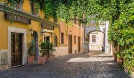 Le pictiresque Rione Trastevere un matin d'été, à Rome, l'Italie photo stock