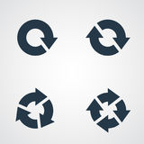 Le pictogramme de flèche régénèrent l'ensemble de signe de boucle de rotation de recharge Volume 02 Icône noire simple sur le fon Images stock