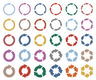 le pictogramme de 30 flèches régénèrent l'ensemble de signe de boucle de rotation de recharge Images libres de droits