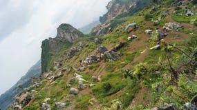 Le pied des montagnes et des collines vertes photographie stock libre de droits
