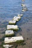 Le pietre facenti un passo del granito attraversano un fiume Fotografie Stock