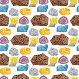 Le pietre preziose preziose dei semi vector le pietre e cristallino brillante variopinto del modello dei dadi senza cuciture di p Immagini Stock