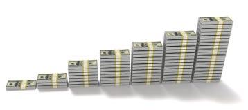 le pile dell'illustrazione 3d di $100 banconote in dollari Fotografia Stock Libera da Diritti