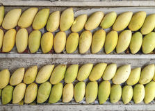 Le pile di manghi gialli maturi dell'aroma dolce fruttificano sulla pila di legno Immagini Stock
