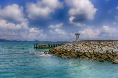 Le pilier de public de plage Photographie stock