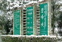 Le pilier en pierre à l'entrée de secteur scénique dans le bifengxia Images stock