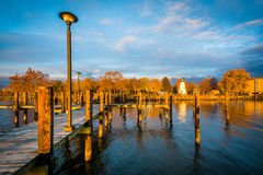 Le pilier et l'accord dirigent le phare à Le Havre de Grace, le Maryland Photographie stock