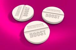 Le pillole con immune amplificano il testo illustrazione di stock