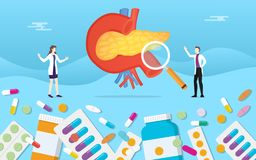Le pillole umane di salute della medicina del pancreas drogano il trattamento della capsula con l'analisi di medico - royalty illustrazione gratis