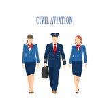 Le pilote et un steward (hôtesse de l'air) sur le fond plat illustration libre de droits