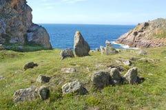 Le Pinacle, stehende Steine auf Jersey lizenzfreies stockfoto