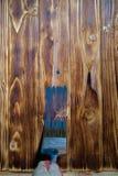 Le pinceau et la cuvette de couleur blanche de revêtement ont mis dessus le conseil en bois Photos libres de droits