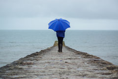 Le pioggie persistenti hanno colpito Devon, Regno Unito che rovina le feste Fotografia Stock