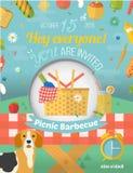 Le pique-nique de famille invitent la carte dans le format de vecteur Nourriture Photo libre de droits