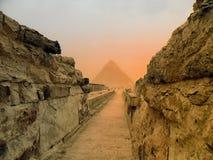 Le piramidi di Giza nell'Egitto, Medio Oriente Fotografia Stock
