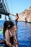 Le pirate et le plongeur Anaconda Image libre de droits