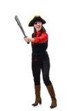 Le pirate féminin jugeant l'épée d'isolement sur le blanc Image stock