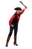 Le pirate féminin jugeant l'épée d'isolement sur le blanc Photos stock