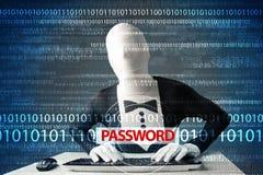 Le pirate informatique morph dedans le masque 3d volant le mot de passe Images libres de droits