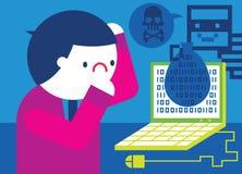 Le pirate informatique vole des données Photos stock