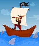 Le pirate mène son bateau illustration de vecteur