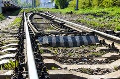 Le piste del treno chiudono il piano le rotaie alle traversine ed alla ramificazione fotografia stock libera da diritti