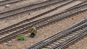 Le piste del treno in su si chiudono Fotografia Stock Libera da Diritti