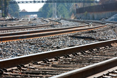 Le piste multiple del treno arricciano nell'orizzonte Fotografia Stock Libera da Diritti