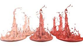 Le pitture ballano con il rallentamento di tempo su fondo bianco La simulazione di 3d spruzza di inchiostro su un altoparlante mu illustrazione vettoriale