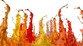 Le pitture ballano con il rallentamento di tempo su fondo bianco La simulazione di 3d spruzza di inchiostro su un altoparlante mu stock footage