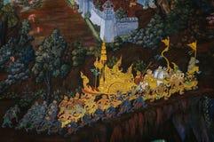 Le pitture del Ramayana nel palazzo della Tailandia Fotografia Stock Libera da Diritti