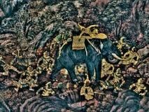Le pitture di Ramayana murla di, lo straniero combatte i dei e la chimera sopra fotografia stock libera da diritti