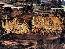 Le pitture murale di Ramayana di, lo straniero combatte i dei e la chimera sulle pareti del palazzo Bangkok, Tailandia di re immagine stock libera da diritti