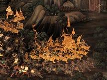 Le pitture murale di Ramayana di, lo straniero combatte i dei e la chimera sulle pareti del palazzo Bangkok, Tailandia di re immagini stock libere da diritti
