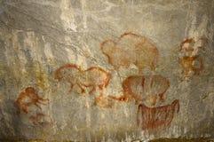 Le pitture reali della roccia dell'uomo antico Fotografie Stock Libere da Diritti