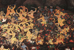 Le pitture tailandesi antiche pubbliche Immagine Stock Libera da Diritti