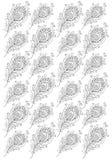Le piume disegnate a mano del pavone per coloritura adulta impaginano la dimensione A4 Immagine Stock Libera da Diritti