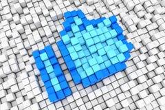 Le pixel haut de cube en bloc de pouce bleu aiment le signe rendu 3d Image stock