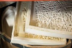 Le plâtre moule pour des modèles d'échelle de carte de la ville 3D Photos libres de droits