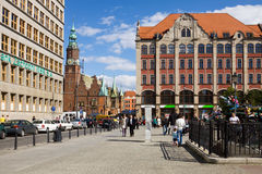 Le Plac Solny (place de sel) à Wroclaw, Pologne photo stock