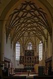 Le plafond voûté dans la chapelle de Biertan a enrichi l'église, Roumanie Image libre de droits