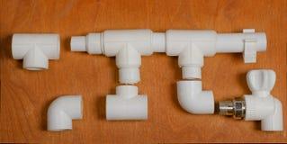 Le plan d'un système d'approvisionnement en eau de polypropylène Photo stock