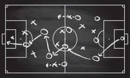 Le plan de stratégie de jeu du football ou de football sur la texture de tableau noir avec la craie a frotté le fond Images stock
