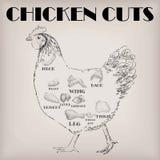 Le plan de viande de coupe de poule de poulet partie l'aile de cou de poitrine de carcasse illustration libre de droits