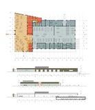 Le plan et la façade du centre automatique Image stock