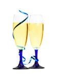 le plan rapproché bleu de champagne tuyaute la bande Photographie stock libre de droits